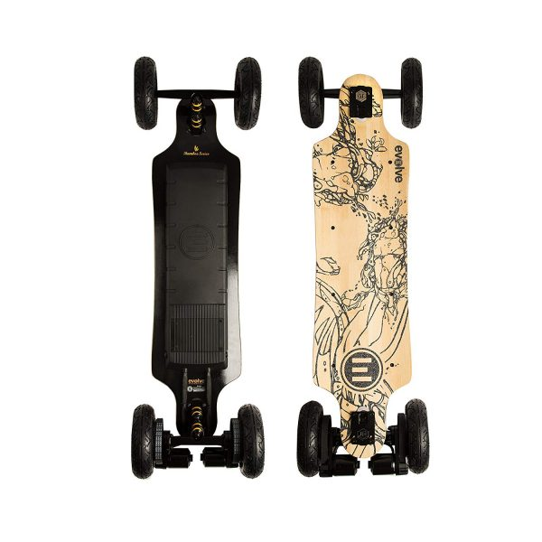 Evolve GT Bamboo All-Terrain The Bamboo GT AT boasts super-carve trucks, regenerative ABS braking and even more versatility in wheel options – all on the stylish new Bamboo GT deck.