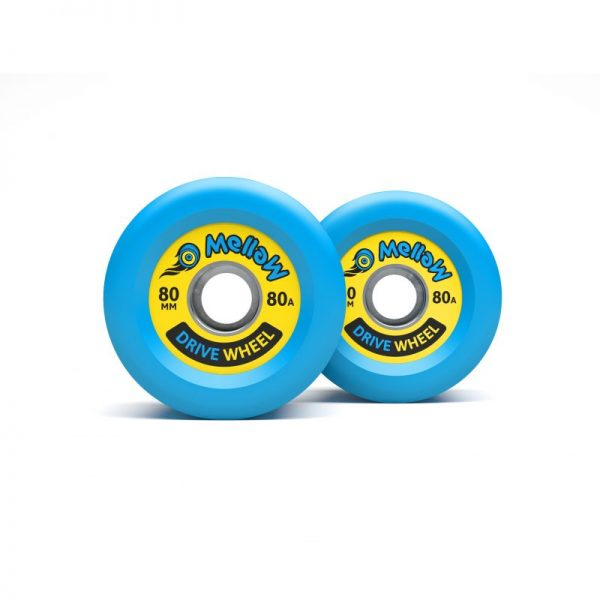 Mellow Board Drive Wheels Custom made for the Mellow Drive.  Underneath the 6mm layer of polyurethan, the Mellow Drive Wheels have a fiberglass strengthened plastic core that snaps like a cogwheel onto the motor. Easily exchangeable with a normal skateboard toold. Each wheels comes with a set of standard 608 sealed bearings
