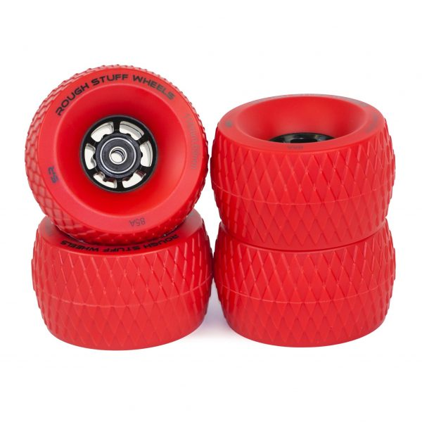 Red Rough Stuff Wheels (Set of 4) Perfectly suited to rough tarmac, loose dirt and gravel. Roll smoothly over previously bumpy terrain. the 110mm diameter allows you to roll up drop-curbs and forget about small pebbles which would previously have you chewing the tarmac.