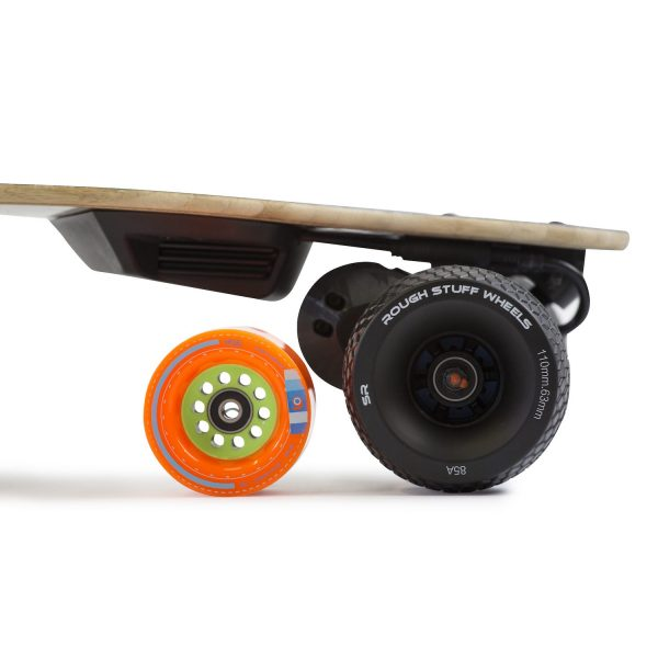Boosted Board Rough Stuff Wheels Conversion Pulley and Belt Cover Boosted Board Rough Stuff Wheels Conversion Pulley and Belt Cover.  Swap out your usual Boosted Wheels for Slick Revolutions Rough Stuff Wheels  Made from hard wearing nylon, beware of 3D printed pulleys as they wear out after around 50 miles.  Models shown are 3D printed which we used to prototype. The actual pulleys and belt covers will be injection moulded nylon.