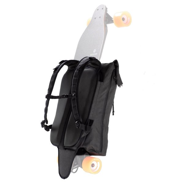 Boosted Backpack No matter where your board takes you, key features keep you on the move during your daily commute or weekend adventure. This electric skateboard backpack keeps your board safe, and also a laptop up to 15 inches!