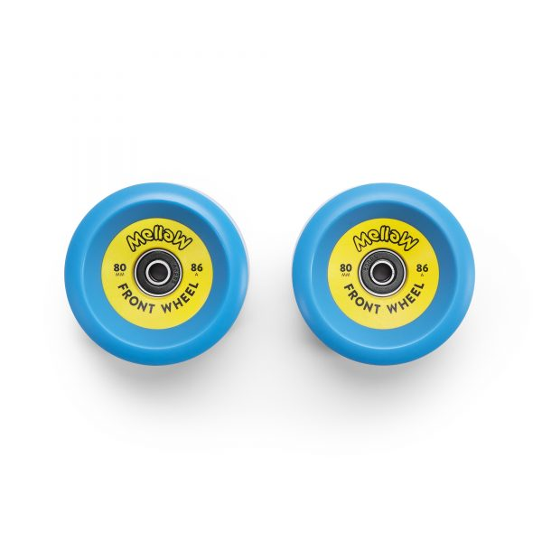 Mellow Boards Front Wheels (Set of 2) Custom made for the Mellow Drive Easily exchangeable with a normal skateboard tool Each wheel comes with a set of standard 608 sealed bearings.