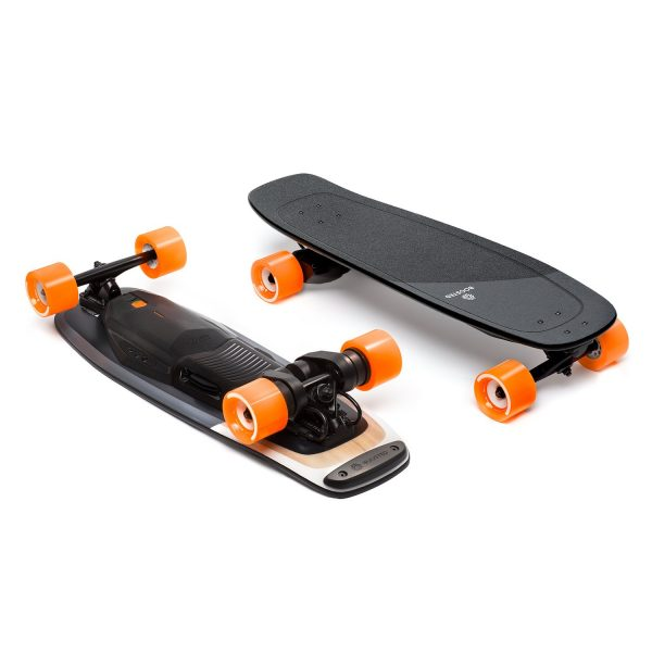 Boosted Board Mini S Boosted Mini S is where power meets agility. It fits perfectly under desks, in overhead storage on busses and trains, and is built for riders who are always on the move. Best of all, Boosted Mini delivers the same powerful acceleration and smooth, secure braking you expect from Boosted with ride modes and acceleration patterns designed to suit the board's compact profile.