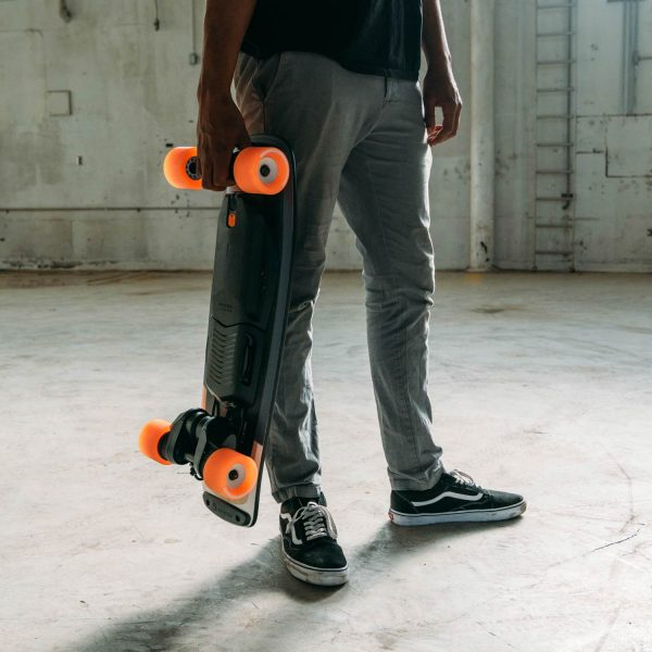 """Boosted Board Mini S (Refurbished) Boosted Board Mini Sisthe stash-and-go Boosted experienceyou've been waiting for.  At only 29.5 inches long, it fits perfectly under desks, in overhead storage on busses and trains, and is built for riders who are always on the move. Our new custom-designed composite deck provides a wide, stable standing platform and features aDeep Dish concaveshape forsuperior control. The kicktail design allows for quick pivoting in close quarters and lets you """"float"""" over road imperfections. Best of all, Boosted Mini delivers the same powerful acceleration and smooth, secure braking you expect from Boosted with ride modes and acceleration patterns designed to suit the board's compact profile.Boosted Mini S is where power meets agility.  This refurbished model has been cleaned and checked by Boosted Boards themselves, and you can expect the same quality and performance as a new one."""