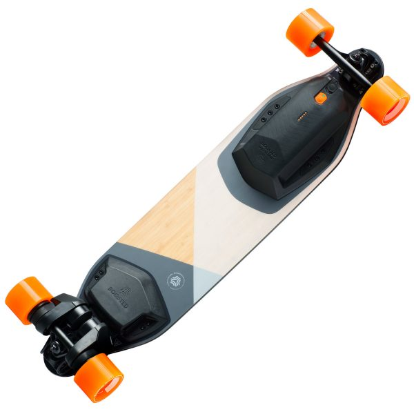 Boosted Boards Plus Boosted Plus is a new take on the classic longboard with refinements in all the right places. The deck sports a wider waist for increased stability and maneuverability, improved vibration dampening, and a fine-tuned flex. One ride and you'll see how far we've come. The two belt motors with a combined power of 2.000 Watts  get you up to 35 km/h. And the removable battery is good for about 22 kilometers range.