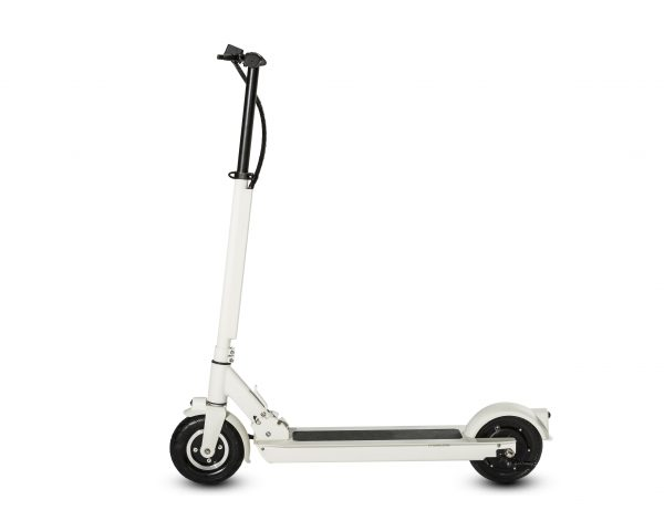 """Traveler Electric Scooter The new Traveler is both powerful and light.  Riding streets becomes very comfortable with both front and double rear suspension. The Traveler also has front and rear lights to help you ride in the dark. It is powered by a 500W motor that goes up to 25km/h and has a range of 25km on one full charge.  Speed: 25 km/h Range: 25km Features: 8"""" wheels, lights, wheel suspension."""