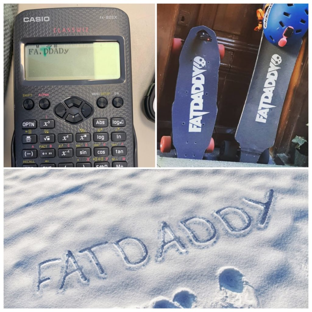 Get a Fatdaddy discount on your new board or accessory Fatdaddy is here to help. Need a little discount on your next board or accessory from our store?  All you need to do is think of a crazy, unexpected or funny way of writing down our name, Fatdaddy.