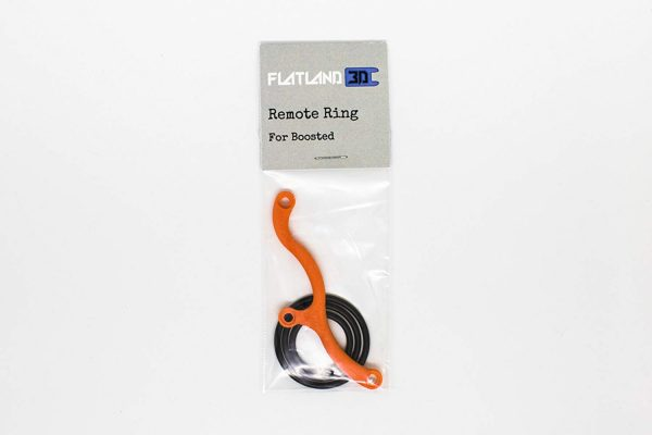 Remote Ring for Boosted - Orange Protect your Boosted Remote from drops with this Remote Ring from Flatland3D. This 2-piece design incorporates a 3d printed ABS bracket and interchangeable flexible rubber rings. Choose between an orange or a black base, and ships with (3) standard ring sizes. The three sizes accommodate any hand size, with or without gloves, and the flexible rubber ring folds flat to allow the remote to be stored in the user's pocket comfortably. The flatland3d Remote Ring is compatible with V1, V2 and V3 Boosted Board remotes.