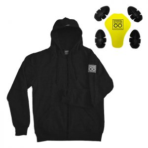 Black Armored Hoodie By Lazyrolling + Pads