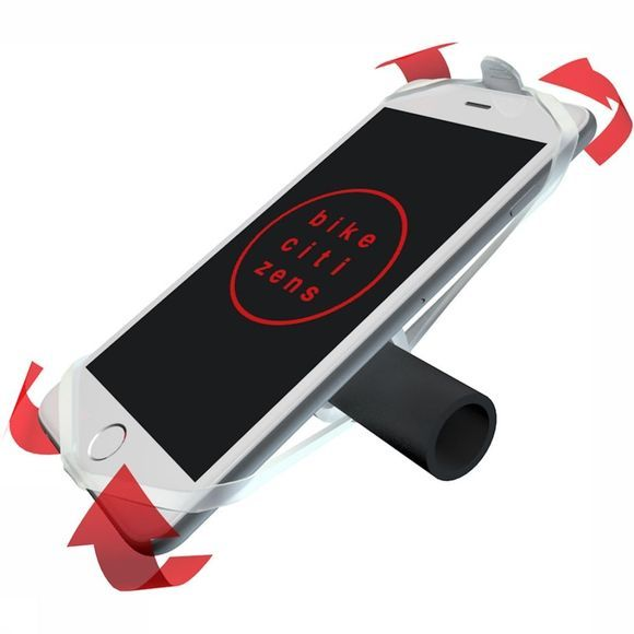 Phone holder by Finn Finn is a telephone holder for your bike. It ensures that your mobile phone is rock-solid on your handlebars without damaging it. Finn adapts itself completely to your mobile phone, it is therefore suitable for all smartphones!  You can remove Finn from your bike in seconds. When you come back, you put it back in the same time. If your phone is stuck, there is no movement to get in and you have both hands free. Very safe!  Thanks to the innovative design, Finn fits on every handlebar and can therefore be used for any bicycle. Are you just not in the vicinity of your bike? Finn fits easily in your pocket, so you don't have to leave it anywhere and take your Finn everywhere you go.