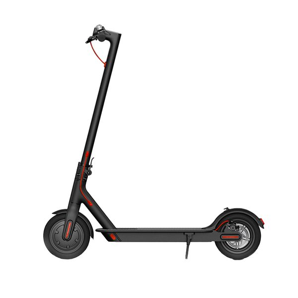 Xiaomi M365 Electric Scooter The Xiaomi M365 electric scooter is a high quality electric scooter that goes at a whopping 25 km per hour and can cover a distance of 25 km. The step comes with an iOS / Android app with which you can view interesting statistics about your step. You should think of your driving pattern, speed, battery charge and software updates. The electric scooter has 6 protection functions including: short-circuit protection, overcurrent protection, protection against overcharging, discharge protection, protection against low voltage and protection against temperature deviations. This ensures that the scooter is safety and durability.  There is a small display on the handlebar that allows you to view the battery status. The scooter has 8.5 inch inflatable tires which are shock resistant and ensure that you ride comfortably. The Xiaomi M365 has front and rear light, so you can also ride the scooter in the dark. The scooter weighs 12.5 kg and is foldable and portable. You can easily take the scooter on the train, car or on the boat.