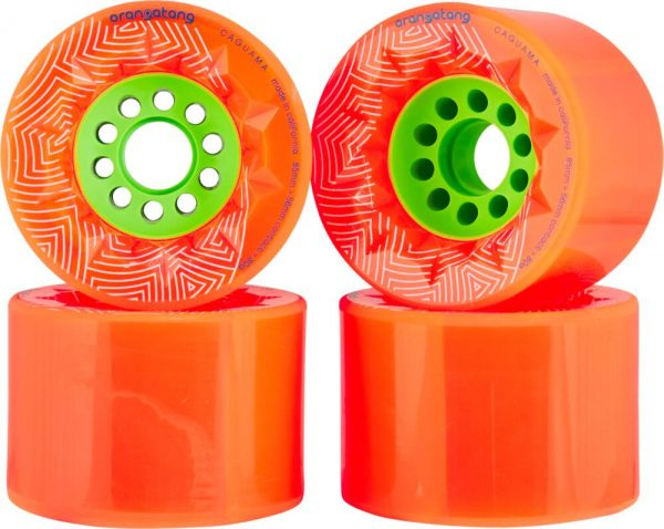 Orangatang caguama wheels orange - 85mm (set of 4 wheels) These Orangatang caguama wheels orange of 85mm are designed for speed, grip, and an ultra-smooth ride. Additionally, it's actually designed for the rigors of e-boarding (It's the same core as the Kegel so it'll fit many of the belt drive e-board systems out there).