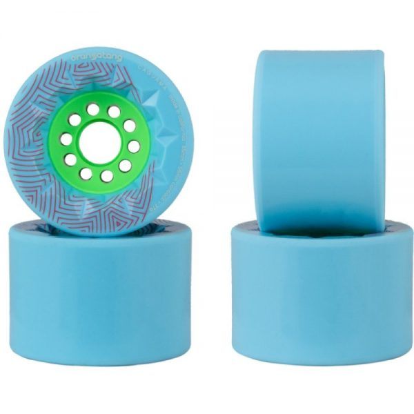 Orangatang caguama wheels blue - 85mm (set of 4 wheels) These Orangatang caguama wheels blue of 85mm are designed for speed, grip, and an ultra-smooth ride. Additionally, it's actually designed for the rigors of e-boarding (It's the same core as the Kegel so it'll fit many of the belt drive e-board systems out there).