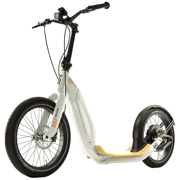 AER 557 scooter White The AER Electric Scooter is a new kind of scooter, with Schwalbe Big Apple tyres and dual piston hydraulic disk brakes on the front and back wheels. A non slippery bamboo footboard and SQlab handlebars and grips.  But the best thing is the riding experience which is way ahead of it's competition.