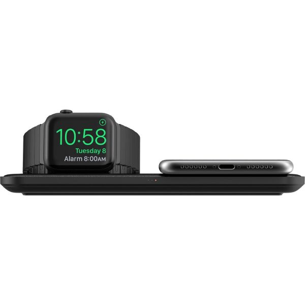 NOMAD Base Station - Apple Watch Edition Designed to be the premium personalized charging experience for Apple Watch, iPhone, and AirPod owners. Base Station Apple Watch integrates a sleek, modern design with a functional wireless charging hub. With 3 high-power charging coils and a slot to put in your Apple Watch Charger, the Base Station creates a frictionless charging experience.