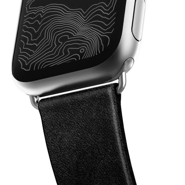 Leather Nomad Apple Watch strap - Modern - Black - Silver Designed to give your Apple Watch a classic, yet bold new look. Made from minimally treated, vegetable tanned leather from one of America's oldest tanneries. The leather is designed to beautifully patina with time, creating a handsome, rich leather strap with a look that is uniquely yours.       Horween leather from the USA  Develops a rugged patina  Custom stainless steel lugs and buckle  Designed for Apple Watch Series 5  Works with all previous versions of Apple Watch, including Apple Watch Series 3