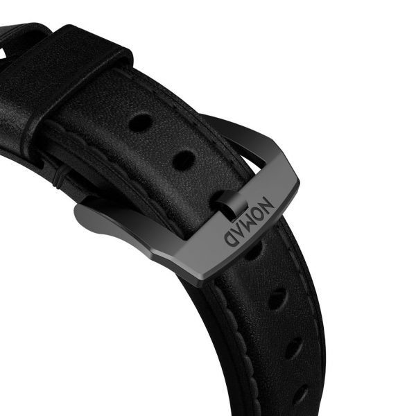 Nomad Apple Watch strap - Traditional - Black - Black Designed to give your Apple Watch a classic, yet bold new look. Made from minimally treated, vegetable tanned leather from one of America's oldest tanneries. The leather is designed to beautifully patina with time, creating a handsome, rich leather strap with a look that is uniquely yours.
