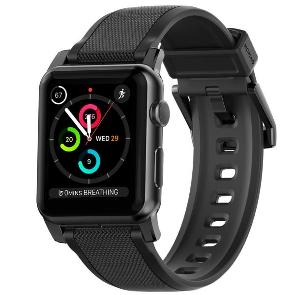 Nomad Apple Watch strap - Rugged - Black - Black Designed to give your Apple Watch a rugged, yet bold new look. We've harnessed one of nature's wonder materials, silicone, to create a rugged strap that is strong, naturally hypoallergenic and sweat proof. The lugs and buckle are liquid injection molded stainless steel for a perfect finish as well as being hypoallergenic.       Vulcanized LSR silicone  Hypoallergenic  Custom stainless steel lugs and buckle  Designed for Apple Watch Series 5  Works with all previous versions of Apple Watch, including Apple Watch Series 3