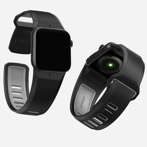 Nomad Apple Watch Sport strap - Slate - Black - Black The Nomad Sport Strap is molded entirely from durable LSR silicone, a naturally biocompatible, antimicrobial and hypoallergenic material, making for a smooth, safe and comfortable fit around your wrist. The strap's face spans the width of the watch itself, projecting a rugged yet sharp presence with its smooth chamfers and intricate crosshatch surface.       Vulcanized LSR silicone  Hypoallergenic / biocompatible  Compatible with 44mm / 42mm Apple Watches  Designed for Apple Watch Series 5  Works with all previous versions of Apple Watch, including Apple Watch Series 3