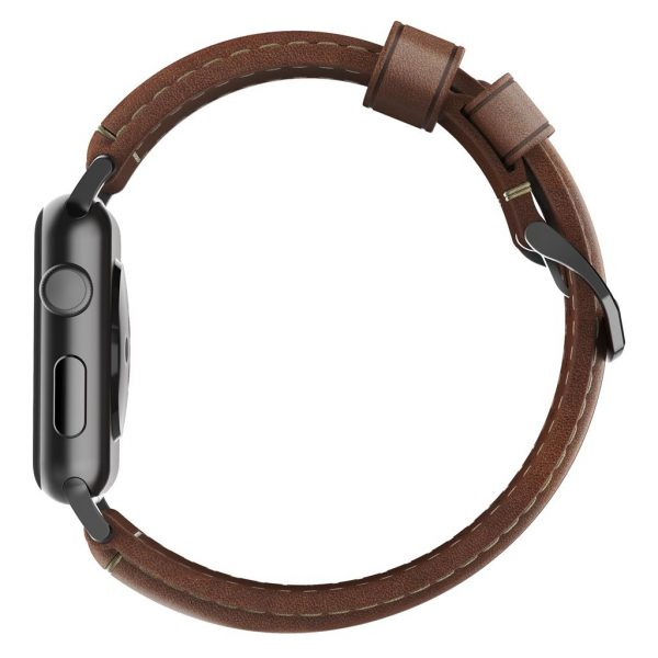 Leather Nomad Apple Watch strap – Traditional - Brown - Black Designed to give your Apple Watch a classic, yet bold new look. Made from minimally treated, vegetable tanned leather from one of America's oldest tanneries.The leather is designed to beautifully patina with time, creating a handsome, rich leather strap with a look that is uniquely yours.