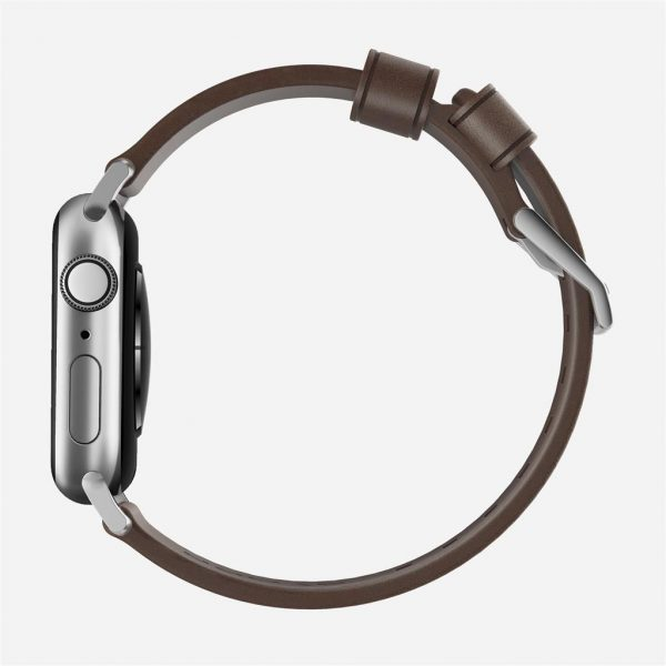 Nomad Apple Watch strap – Modern – Brown – Silver Designed to give your Apple Watch a classic, yet bold new look. Made from minimally treated, vegetable tanned leather from one of America's oldest tanneries. The leather is designed to beautifully patina with time, creating a handsome, rich leather strap with a look that is uniquely yours.