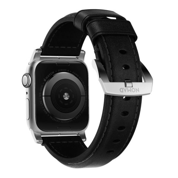 Nomad Apple Watch strap - Traditional - Black - Silver Designed to give your Apple Watch a classic, yet bold new look. Made from minimally treated, vegetable tanned leather from one of America's oldest tanneries.The leather is designed to beautifully patina with time, creating a handsome, rich leather strap with a look that is uniquely yours.       Horween leather from the USA  Fil Au Chinois beeswax linen thread  Custom stainless steel lugs and buckle  Designed for Apple Watch Series 5  Works with all previous versions of Apple Watch, including Apple Watch Series 3