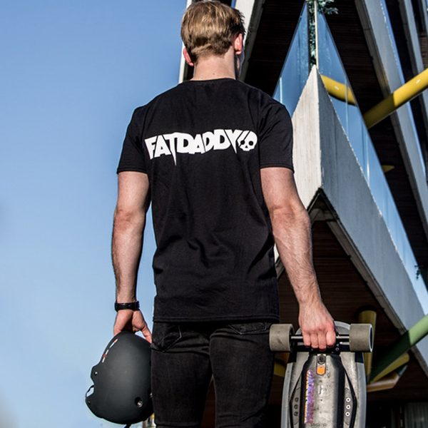 Fatdaddy t-shirt Fatdaddy represent! Our limited release of the Fatdaddy t-shirt for all our day one's out there.  High quality black cotton featuring the brandlogo on front and back. Including our signature skull in the neck as a finishing touch.  Available in medium large and extra large.