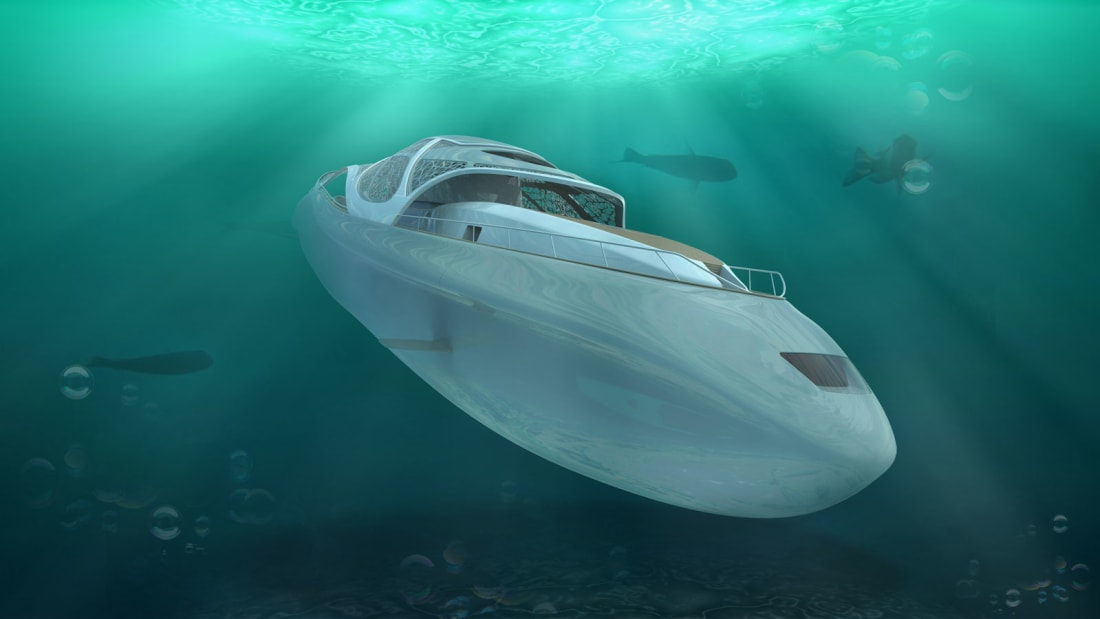 Your own Hybrid jacht with a James Bond twist This insane 256-foot (78,03 meters) superjacht dubbed the Carapace can be submerged for about 10 days but can also float above the waters.