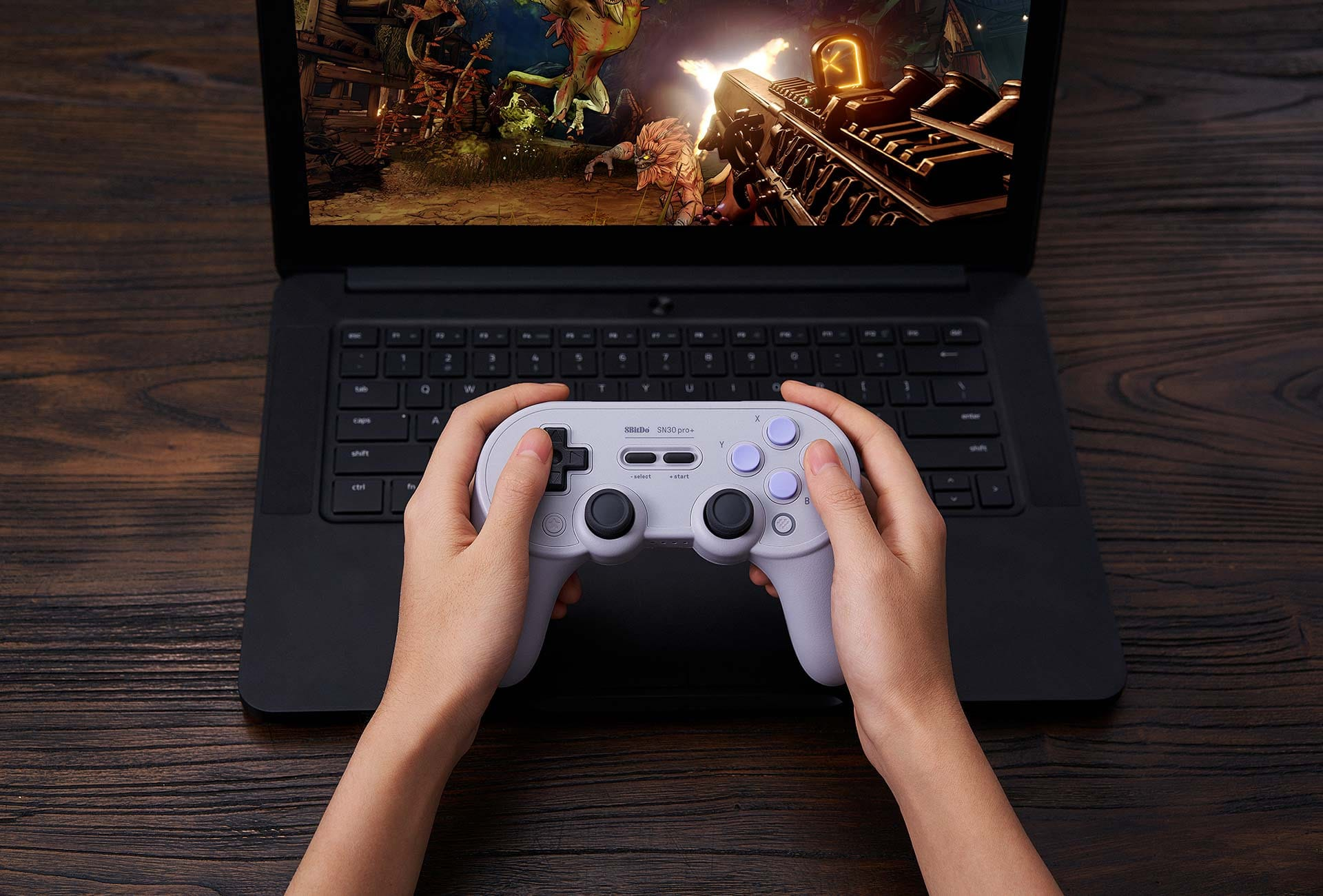 8Bitdo SN30 Pro+ Pro+ is the most advanced controller from 8BitDo. The SN30 Pro+ series aren't just some of the best full-sized wireless Bluetooth game controllers - they were designed with respect for the classics. Pro+ can be used wired or wirelessly so you have instant access to the lowest latency possible for pro level gaming. Customize everything on Pro+ from button mapping, stick & trigger sensitivity, vibration control and even create macros with any button combination. Easily save your settings on a game by game basis with custom profiles. Compatibility: Windows, Android, iPhone, macOS, Nintendo Switch, Raspberry Pi Available in: Black, SN and G Classic.