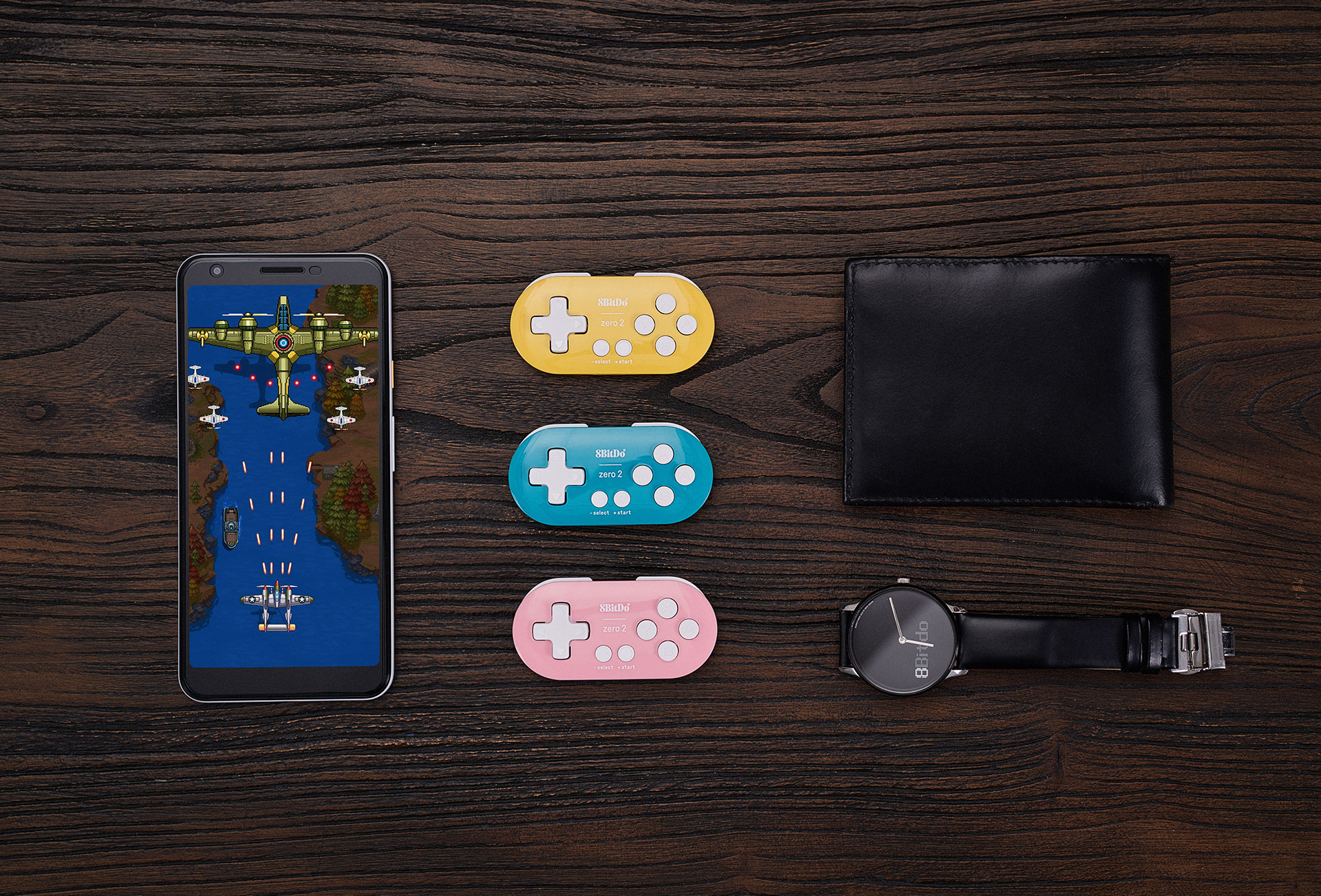 8Bitdo Zero 2 Mini Zero 2 is a key chain sized bluetooth controller to take with you wherever you go. It weighs just 20 grams, has a rechargeable lithium ion battery with 8 hours of game time and is compatible with Switch, PC, macOS and Android!