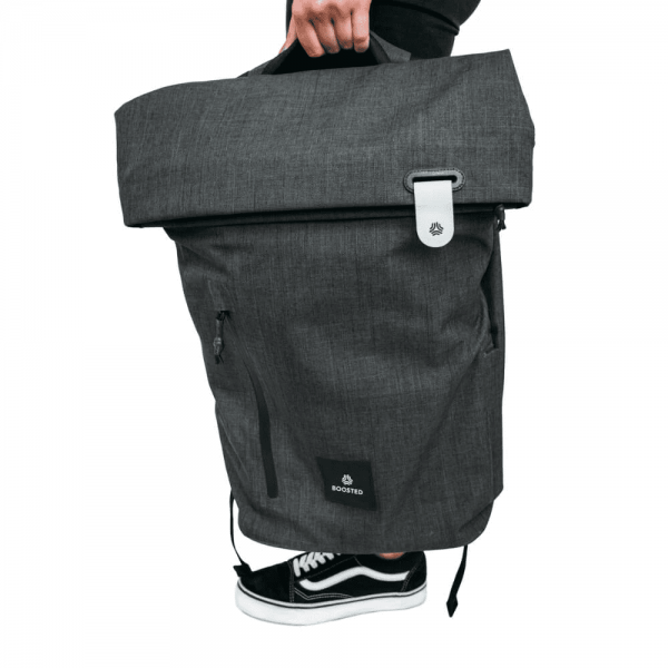 Boosted Daypack Not just a daypack, carry your board in style once you get where you are going.  Latest from Boosted introducing our expandable Boosted Daypack shares the same form as our ISDA award-winning Boosted Backpack. But it's not just the sleekest way to carry your things, it also features easy access to your remote, safe laptop storage, and ergonomic cushioning.  It's the perfect pack for riders who want the same Boosted-friendly features and style without the board-carrying features. Also see the Boosted Backpack if you want to carry your board in it.