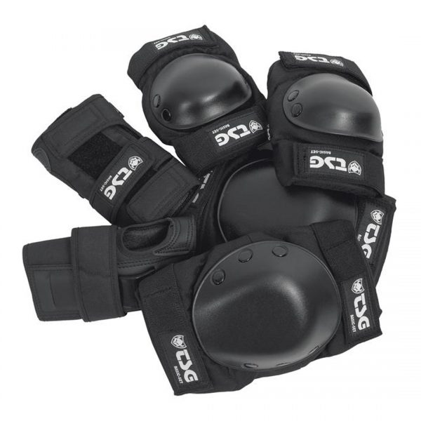 TSG Body Protection Set Worried you might screw up your knee or elbow? This all-in-one skate protection set includes a set of knee pads, elbow pads and wrist guards is just what you need. The elbow and knee pads feature EVA cup foam and PE caps to provide protection against impacts and abrasions. The wrist guards stabilise hands and wrists with full straps and palm splint. Can be worn under or on top of your clothes.